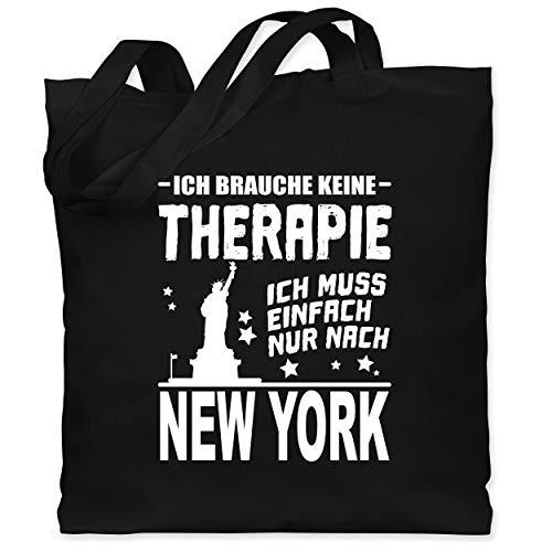 Städte - Ich brauche keine Therapie Ich muss einfach nur nach New York - weiß - Unisize - Schwarz - new york geschenkideen - WM101 - Stoffbeutel aus Baumwolle Jutebeutel lange Henkel