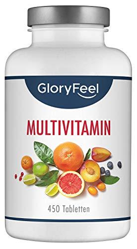 GloryFeel Multivitamin 450 Tabletten Hochdosiert - Der VERGLEICHSSIEGER 2019* - Alle Wertvollen A-Z Vitamine und Mineralstoffe für 15 Monate Verpackung kann variieren