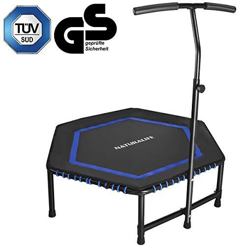 NATURALIFE Mini Fitness-Trampolin mit Griff, Fitness Rebounder für Körpertraining und Cardio Workouts, Max bis 120kg, Schwarz und Blau, 106cm