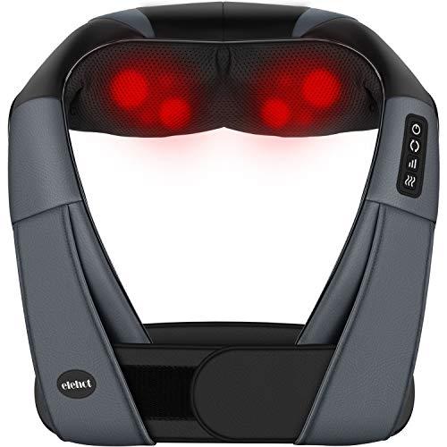 Massagegerät Elektrisch 4D Nackenmassagegerät mit Wärmefunktion und Gürtel für shiatsu Schulter Fuß Rücken Massagekissen 3 Geschwindigkeit 1.2m Kfz Ladekabel von ELEHOT (black)