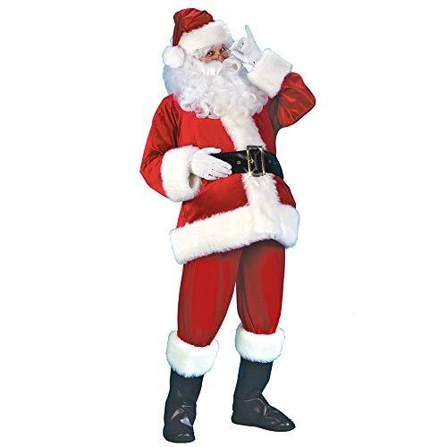 Vertvie Herren Damen Kostüm Weihnachtsmann Partei Cosplay Outfits anzüge Santa Claus Nikolauskostüm(XL, Rot)