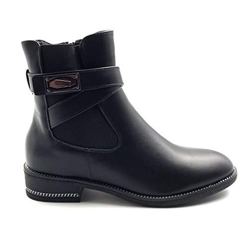 Angkorly - Damen Schuhe Stiefeletten Stiefel - Biker - Chelsea Boots - Rock - gekreuzte Riemen - Nieten-Besetzt - Schleife Blockabsatz 3.5 cm - Schwarz FR200 T 41
