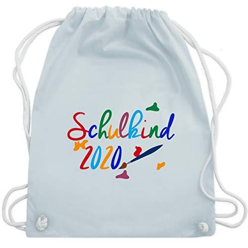 Shirtracer Einschulung und Schulanfang - Schulkind 2020 Pinsel - Unisize - Pastell Blau - WM110 - Turnbeutel und Stoffbeutel aus Bio-Baumwolle