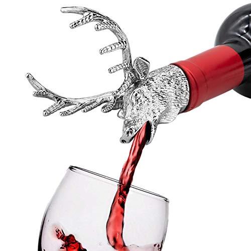 FREEMASTER Flaschenverschlüsse Weinausgießer Hirschkopf Stopper Wein und Bier (Schwarz Deer)
