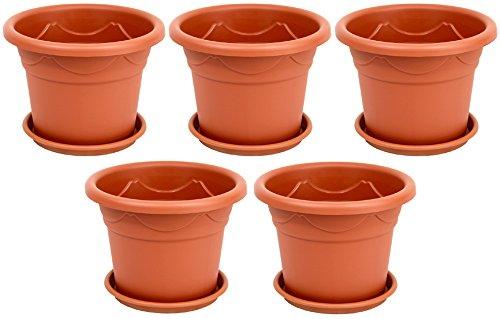 5-er Set Pflanzkübel + Untersetzer Blumenkübel Blumentopf Pflanztopf Rundtopf S - XXL (Braun, 18 cm)