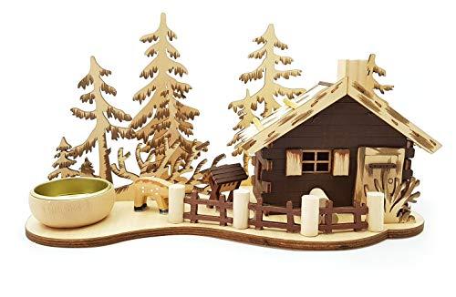 Wichtelstube-Kollektion Räucherhaus Räucher-Berghütte mit Teelichthalter Waldhaus