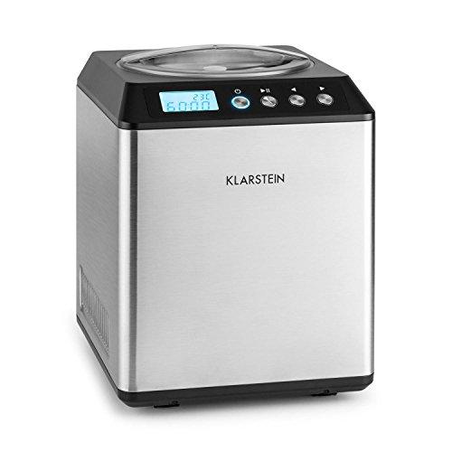 Klarstein Vanilla Sky - Eismaschine, Eisbereiter, Speiseeismaschine, 180 Watt, 2 Liter Fassungsvermögen, Kühlhaltefunktion, LED-Display, Timer, Edelstahl, einfache Reinigung, silber