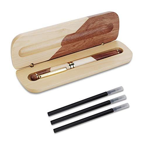 OMZGXGOD - Natural Handcrafted Holz Kugelschreiber, Luxus, personalisierte Geschenk Stift, Extra 3 Black Ink Refill, elegante und exquisite Geschenk Stift Set