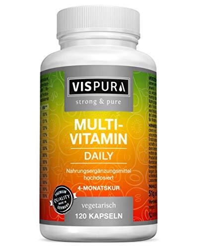 Multivitamin Kapseln hochdosiert, 13 Vitamine A, B, C, D, E, K, 120 Kapseln vegetarisch für 2 Monate, ohne Magnesiumstearat, ohne Jod