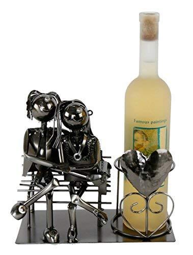 Spetebo Metall Weinflaschenhalter - Motiv Liebespaar - Deko Flaschen Halter Wein Ständer