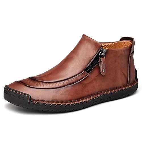 YUWEN Hohe Qualität Herren Stiefeletten High Top Driving Schuh-echte Leder-Seiten-Reißverschluss Collision Avoidance Toe Anti-Rutsch-Stich-Komfort-Schuhe (mit Fleece-Futter Optional)