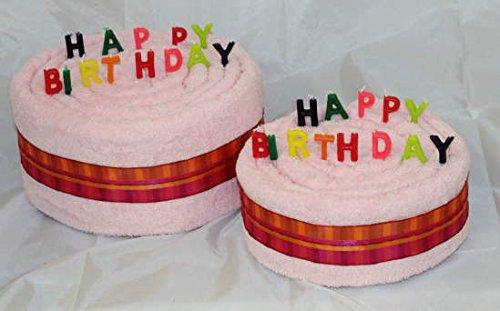 S.B.J - Sportland Handtuchtorte/Geburtstagstorte Happy Birthday, Farbe rosa, Gr. M