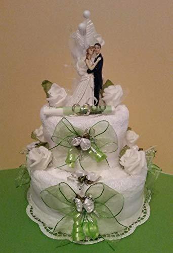 * Handtuchtorte * Hochzeit * Geldgeschenk * zart-grün *