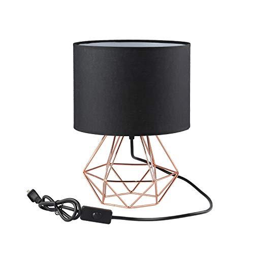 FRIDEKO HOME Vintage Tischlampe - DIY Tischleuchte Modern Körbchenstil Stil Kreativer für Schlafzimmer Nachttischlampe Arbeitszimmer Office [Verbesserte Version] Schwarz & Rose Golden