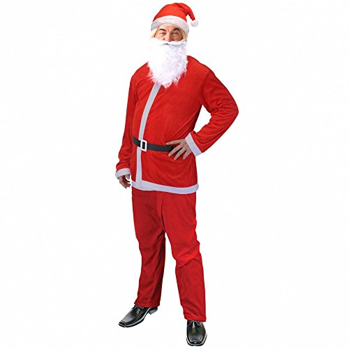 Weihnachtsmannkostüm Universalgröße 5-teilig Kostüm Nikolaus Weihnachtsmann