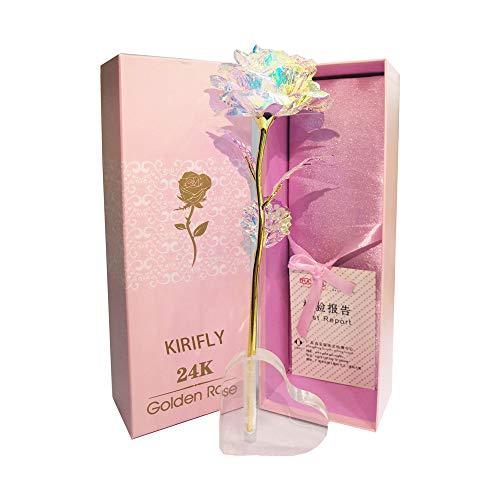 KIRIFLY Gold Rose Geschenk für Frauen Blumen Künstlich Deko Unechte Blumen für Hochzeitstag Freundin Ehefrau Muttertag Dankeschön Schwester Jahrestag Weihnachtstag (Herz Stehen)