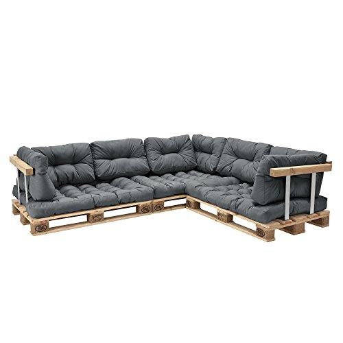 [en.casa] Euro Paletten-Sofa - DIY Möbel - Indoor Sofa mit Paletten-Kissen / Ideal für Wohnzimmer - Wintergarten (3 x Sitzauflage und 8 x Rückenkissen) Grau