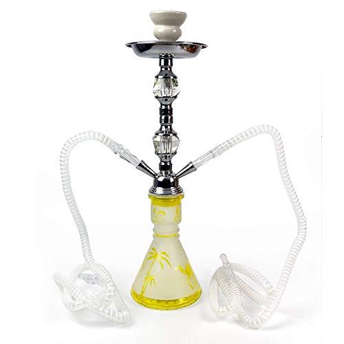RMAN® Shisha Hookah 45cm Wasserpfeife mit 2 Schläuchen inkl. Kohlezange Wasserpfeife Kaminkopf Kohlezange und Zubehör Gelb