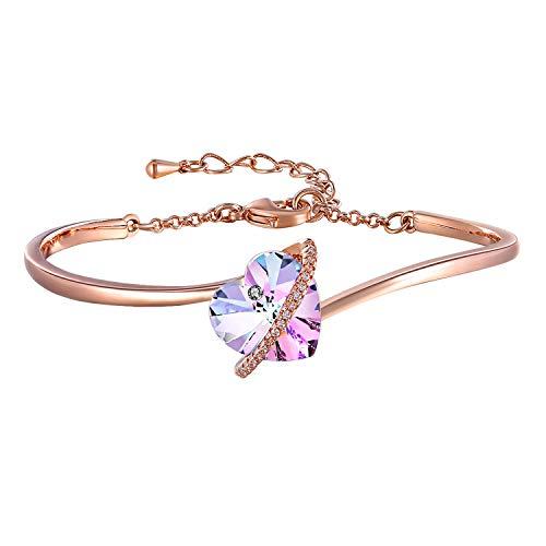 GEORGE · SMITHLiebes GeschichteSchmuck Damen Armband Blau Rosa Herz Armreif mit Swarovski-Kristallen Geburtstage Hochzeitstag Geschenke für Frauen Mama