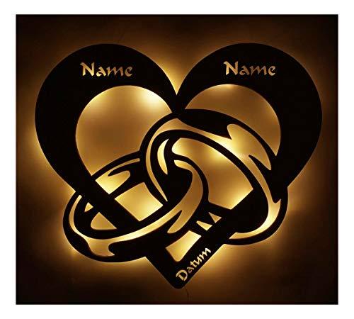 Hochzeitsgeschenke Personalisiert Led Licht Schlaf-Zimmer Lampe Herz-en Ring-e Partner Geschenk-e für-s mit Name-n Datum zum Jahrestag Hochzeit Verlobung Ich liebe dich Männer Frauen