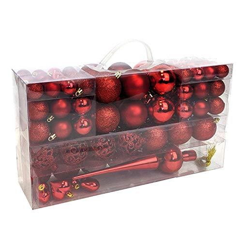 Wohaga 105 Stück Weihnachtskugeln'Glamour' Christbaumkugeln Baumschmuck Weihnachtsbaumschmuck Baumkugeln, Farbe:Rot