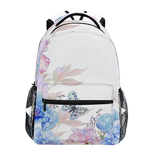 BKEOY Rucksäcke Aquarell Blumen Schmetterling Libelle Schule Buch Tasche Reise Wandern Camping Daypack