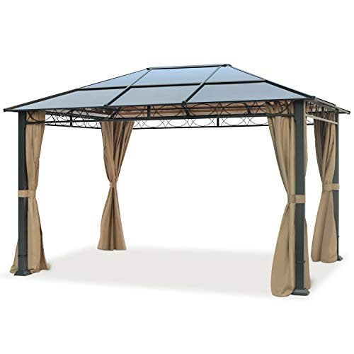 TOOLPORT Gartenpavillon 3x4 m wasserdicht ALU Deluxe Pavillon mit 4 Seitenteilen Partyzelt in Bronze lichtdurchlässiges PC Dach