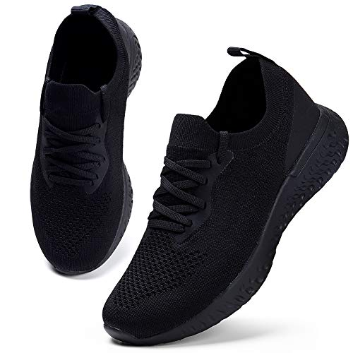 HKR Damen Turnschuhe Atmungsaktiv Laufschuhe Leichtgewichts Sportschuhe Freizeitschuhe Straßenlaufschuhe Sneaker Trainer für Running Fitness Gym Outdoor Schwarz 41 EU