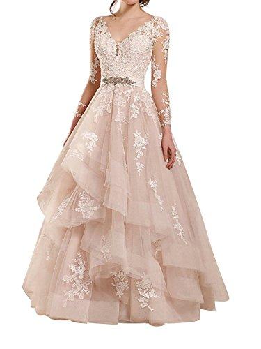 JAEDEN Lange Hochzeitskleider Brautkleid Prinzessin Ballkleider Tüll Spitze Abendkleider V-Ausschnitt Langarm Champagner EUR38