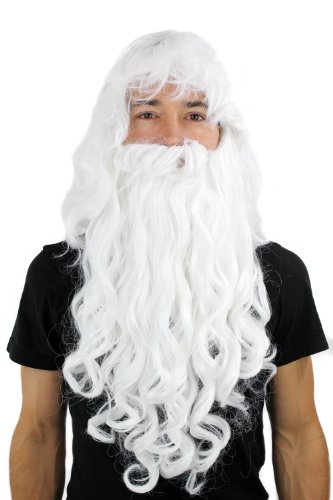 WIG ME UP - PW0187-P60 Perücke & Bart Weihnachtsmann Zauberer Dumbledore Wig