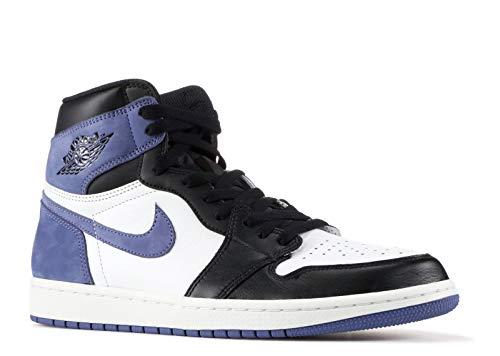 Nike Air Jordan 1 Retro High Og - Summit White/Blue Moon-Black - Basketball-Schuhe-Herren, Größe:8