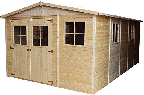 TIMBELA M337 Blockbohlen Gartenhaus aus Holz - Kiefer/Fichte Chalet- 518x320 cm