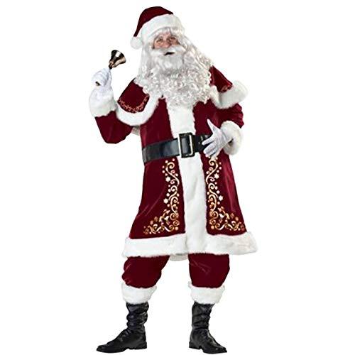 ShiyiUP Weihnachtsmann Kostüm Nikolaus Kostüm Weihnachtsanzug Herren Weihnachten Verkleidung Santa Claus Costume, XXL