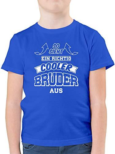 Geschwister Bruder - So Sieht EIN richtig Cooler Bruder aus Pfeile - 140 (9/11 Jahre) - Royalblau - Geschenkidee 8 jähriger - F130K - Kinder Tshirts und T-Shirt für Jungen