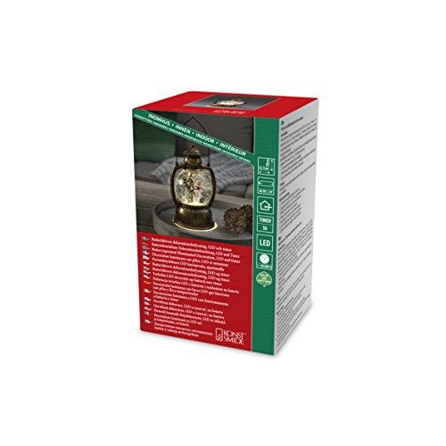 Konstsmide 3498-000 LED Glaskugellaterne'Schneemannfamilie' / für Innen / VDE geprüft / Batteriebetrieben: 3xAA 1.5V (exkl.) / wassergefüllt / warm weiße Diode