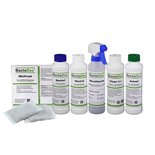 BactoDes Geruchsneutralisierer Geruchskiller- Kennenlern-Set - Verschiedene Geruchsvernichter Konzentrate zum Verdünnen - Lernen sie ihren persönlichen Favoriten zur Geruchsbeseitigung kennen