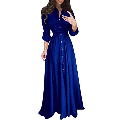 2020 Winter Herbst Mode Einfach Weich Bequem Damen Damen Lady Casual Fashion Langarm Revers Maxi Langes Kleid Solides Hemdkleid für Party/Reisen Top Pullover
