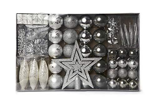 HEITMANN DECO Weihnachtsbaum-Schmuck - Silber - 60-teilig - Set inkl. Baumspitze, Kugeln, Perlkette, Girlande und Sterne - Kunststoff
