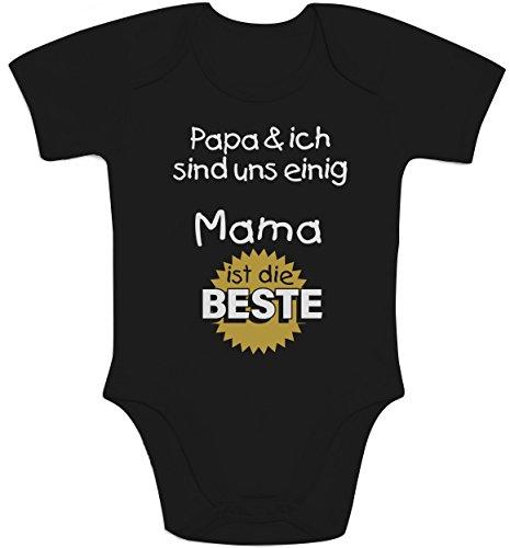 Shirtgeil Shirtgeil Geschenk fr Mama - Papa & ich sind Uns einig Mama ist die Beste Baby Body Kurzarm-Body, Schwarz, 6-12 Monate, Schwarz, 6-12 Monate
