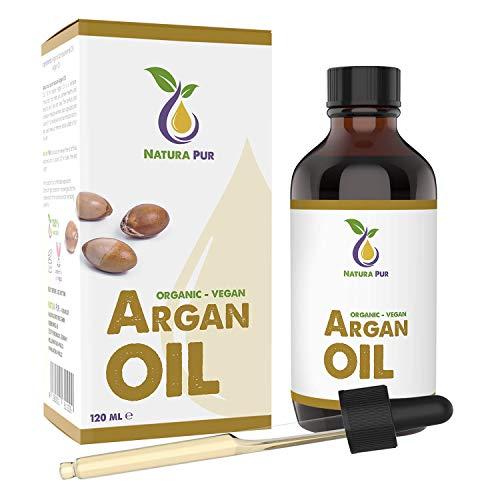 AKTION Natura Pur Bio Arganöl 120ml - 100% nativ, kaltgepresst, vegan - aus Marokko - Anti-Aging Serum für Gesicht, Anti-Falten, Körper, Haare, Haut, Hände, Nägel