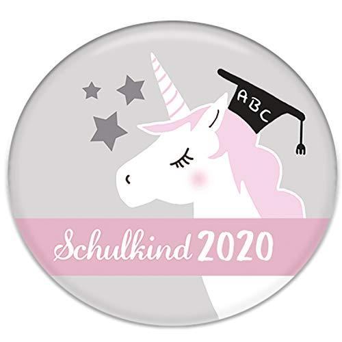 Polarkind Button Pin Anstecker Einhorn Schulkind 2020 Geschenk zum Schulanfang für Schultüte Zuckertüte 38mm Handmade Mädchen