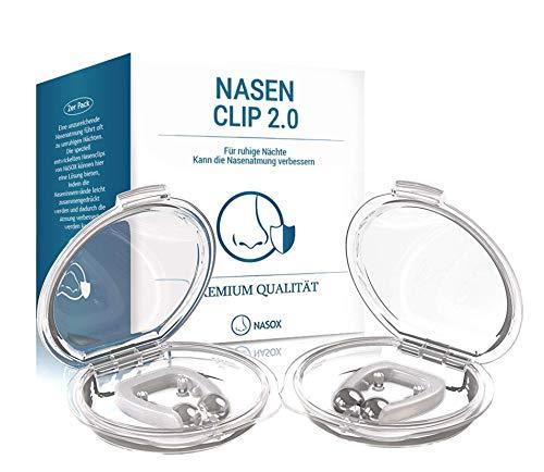 NASOX DAS ORIGINAL Premium Nasenclip [2er Set] - Verbessertes Konzept 2019 - Neuartige Nasenklammer für möglich bessere Atmung   Für ruhige und entspannte Nächte   inkl. Transportbox