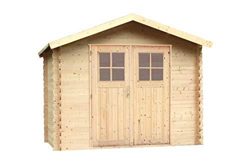 Alpholz Gerätehaus MONS aus Fichten-Holz | Gartenhaus inkl. Dachpappe | Geräteschuppen naturbelassen ohne Farbbehandlung (270 x 270cm)