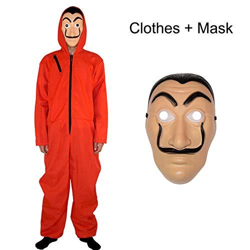 Yigoo Haus des Geldes Kostüm Overall mit Dali Maske Cosplay für Herren, Damen Erwachsene - Fasching, Karneval, Halloween Rot S
