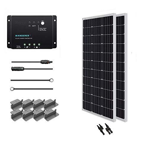 Renogy Solaranlage 200W Basic-Starter Bausatz mit Zwei 100W 12V Monokristallin Solarmodul, SolarKabeln und 12V PWM SolarLaderegler Negativ-Erdung