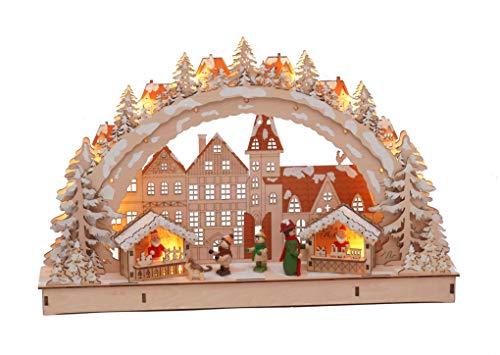 LED Holz Schwibbogen 45x28 cm - Motiv Weihnachtsmarkt - Lichterbogen Fensterdeko beleuchtet