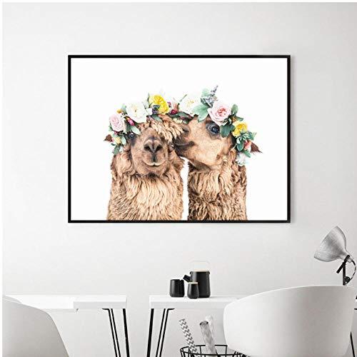 Nordic niedlichen minimalistischen Messer Wandkunst Leinwand Ölgemälde lustige Tierbild Plakate und Drucke für Wohnzimmer Wohnkultur 60x80 cm ungerahmt
