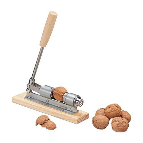Relaxdays, Silber/Natur Retro Nussknacker Holz, Nutcracker, größenverstellbar, kraftsparend Nüsse öffnen, Hebel, Metall, Standard