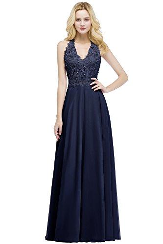 MisShow Ballkleid Abendkleid Lang Ärmellos Perlenstickerei Applique Chiffon Abschlusskleid, Navyblau, 38