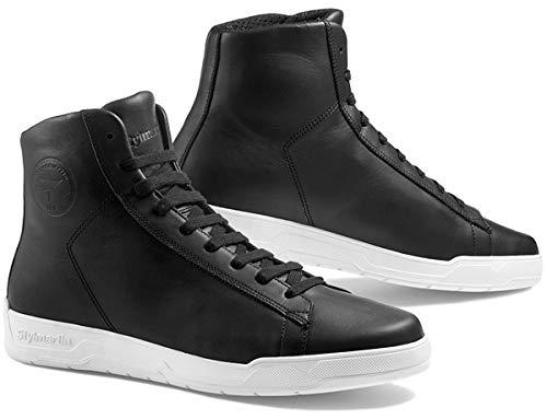 STYLMARTIN Motorrad Sneaker CORE schwarz weiß Leder wasserdichtes Mesh-Futter CE, 37